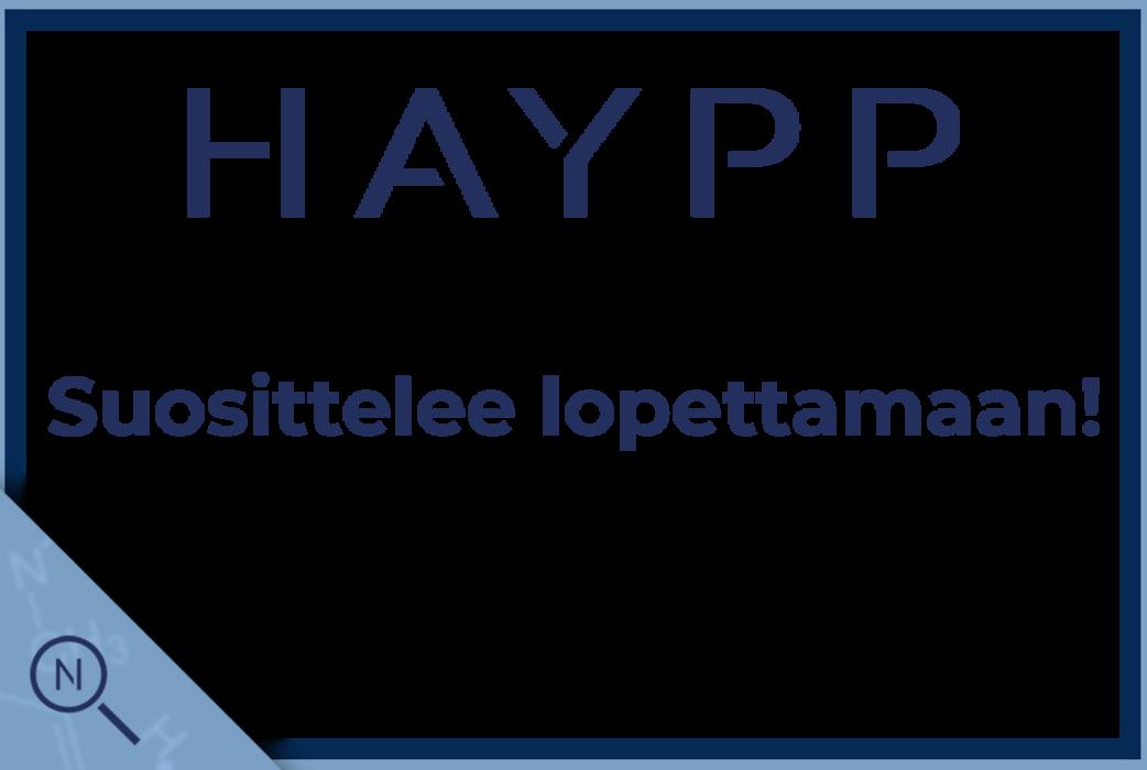 Haypp suosittelee lopettamaan!