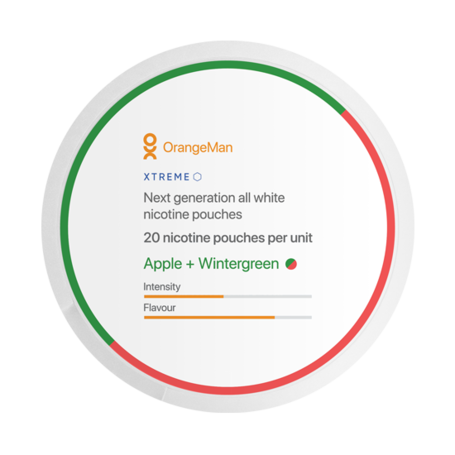 OrangeMan Apple + Wintergreen Slim Extra Stark Nikotinbeutel